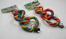 BIRD TOYS SQUISHY LATEX 4 KNOTS WITH BELL RINGS SMALL TO MEDIUM PETS 2 COLORS
