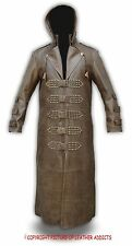 Mens Real Brown Leather Goth/Matrix Trench Coat Steampunk Gothic Van Helsing(T8)