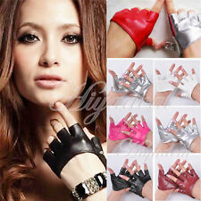 Hot Half Finger PU Leather Gloves Lady Punk Fingerless Driving Dance Show Gloves