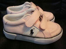 Polo Ralph Lauren Girls Harold Velcro Pink White Canvas Shoes NEW FREE SHIP