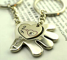 FD515 Rhinestone Hearts With Head Love Romantic Couple Keychain Key Ring ~2pcs #