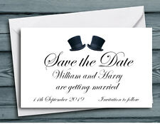 SAVE THE DATE MAGNETS Personalised Top Hats Gay Wedding Invites & Envelopes