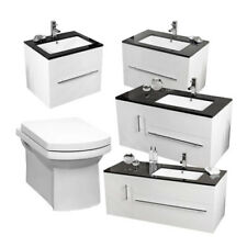 Bathroom Suite Vanity Unit Furniture Cabinet Basin Units & Wall Hung Toilet Pan