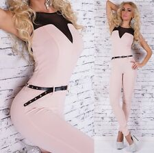Sexy Jumpsuit Overall with Transparent + Belt - S/M
