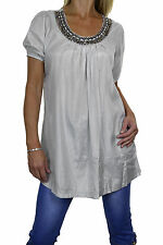 NEW (4038-3) Short Sleeve Tunic Top Sheen with Bead Stud Detail Silver 8-16