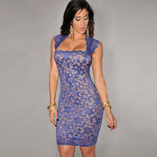 Fashion Women's Sexy Lace Nude Illusion Vintage Party Evening Clubwear Fit Dress