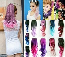 Ombre Ponytail Hairpieces Hair Ribbon Clips in Cruly Wave Fashion Hair Extension