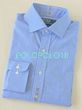 New Polo Ralph Lauren Dress Shirt Regent Gingham Blue 15 15.5 16 16.5 17 17.5 18