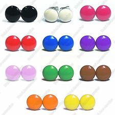 Plain Coloured Stainless Steel Stud Earrings - Mens Womens Fashion - New