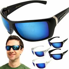 Arctic Blue Sunglasses Mens Sports Wrap Running Glasses with Blue Mirror Lens