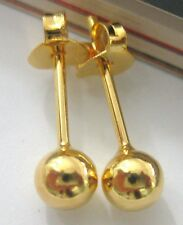 REAL 925 sterling silver 4mm ball 18k GOLD plated studs earrings - TEEN BOY GIRL