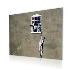 BIG Canvas Banksy Man Hanging Out Of Window Cheating Wife wall art GICLEE photo