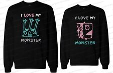 His and Her Matching Couple Sweatshirts - I Love My Monster
