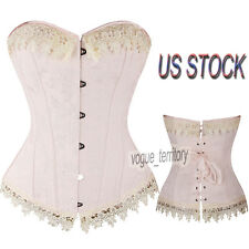 Sexy Cream Pink Overbust Corset Tip Floral Embroidery Lace Trim Plus Size S-6XL