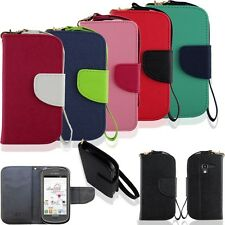 PU Leather Wallet Flip Pouch Case Stand Cover for Samsung Galaxy Exhibit T599