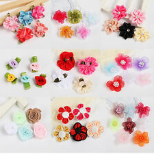 20pcs/100pcs Mixed Color Satin Ribbon Flower with Leaf Bead Appliques Hot