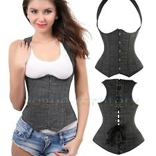 Ladies Sexy Denim Gray Cupless Corset Top Underbust Vest Lingerie Bustier Thong