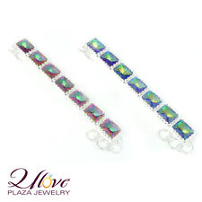 Gorgeous Free Shipping Fashion Rainbow Mystical Topaz Gems Silver Chain Bracelet