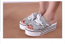 Womens Casual Canvas Cowboy Platform Flat Free Casual Lace up Sandals Slippers
