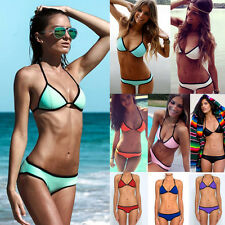 2014 Sexy Women Girl Neoprene Halter Triangle Bikini Push-Up Swimsuit Swimwear