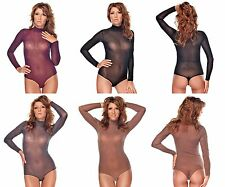 Long Sleeve Body String Body With Half Collar Transparent Lace Bodysuit Thong