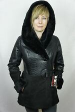 NEW GENUINE SHEEPSKIN BLACK SUEDE SHEARLING LEATHER FUR HOOD JACKET COAT S-5X