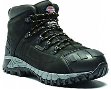 DICKIES MEDWAY BLACK LEATHER MIDSOLE STEEL TOE CAP SAFETY ANKLE BOOTS SHOES