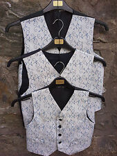 Boys waistcoats - Blue with leaf pattern - various sizes - individually made