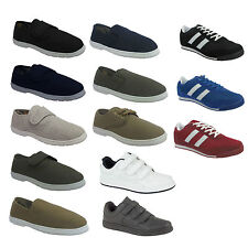 MENS  CANVAS PLIMSOLLS SLIP ON LACE ESPADRILLES PUMPS PLIMSOLES TRAINERS SHOES