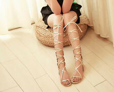New Fashion Strappy Knee High Boots Open Toe Gladiator Flat Sandals Pumps N057