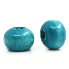 Wholesale Lots Lightblue Dyed Round Wood Beads 4mmx3mm
