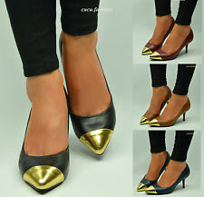 NEW LADIES WOMENS HIGH HEEL PUMPS BLACK KITTEN POINT TOE CASUAL PARTY SHOE SIZE
