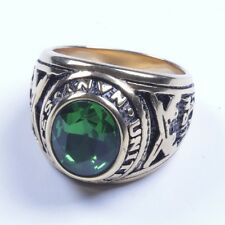 18K Gold plated Stainless Steel With Green CZ Navy's Ring Size 9-11 SR95