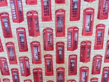 Telephone Booths Fabric 100% Cotton Vintage RED PHONE BOX Fabric Sewintocrafts!