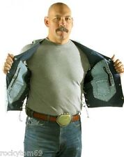 Mens Concealed Carry Plain Denim Vest, 2 Front, 2 Inside Pockets