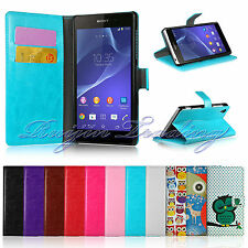 PREMIUM Luxury Book Flip Leather Wallet Case Cover For Sony Xperia Z2 L50W