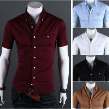 Fashion Casual Men's Short-sleeved Slim Stylish Korean Summer Plaid Shirt Top