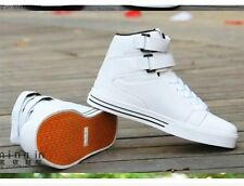 White version of the high-top men casual shoes magic buckle PU sneakers +socks