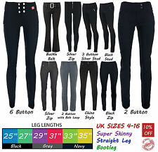 Ladies Trousers Women Stretch Hipster Plain Black Office Smart Miss Chief Petite