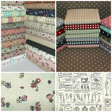 Linen Look Style Fabric HALF METRE Gingham, Floral, Chickens, Polka Dot.