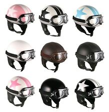 Motorcycle Motorbike Half Face Leather Vintage Star Goggle Helmets Collection