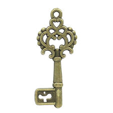 Wholesale HOT!Metal Charm Pendants Hollow Key Bronze Tone 28mmx11mm