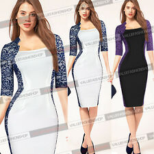 Womens Vintage Lace Colorblock Bodycon Business Evening Cocktail Party Dress 892