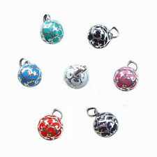 925 Bali Sterling Silver Harmony Ball w/ Various Color Resin Chime Bell Pendant