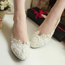 Women's Red White Flat Wedding Shoes Lace Pearl Bride Bridesmaid Shoes