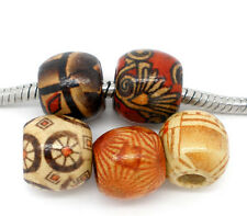 Wholesale Lots Mixed Painted Drum Wood Beads. Fits Charm Bracelet 11x12mm
