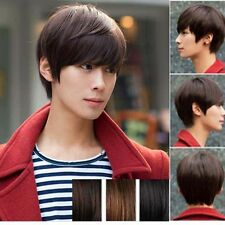 New Cool Handsome Men's Short Straight Hair Brown Full Wigs Cosplay Party Wig