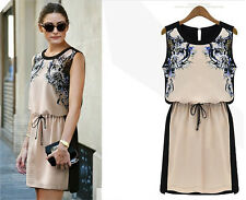 Women's Ladies Chiffon Summer Sleeveless Floral Evening Party Short Sexy Dress