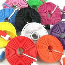 1M 3ft / 2M 6ft / 3M 10ft Noodle USB Data Sync Charger Cable iphone Samsung HTC