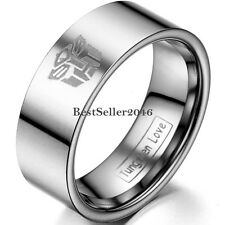 Polished Tungsten Carbide Men's Ring Laser Transformers Autobot Symbol Flat Band